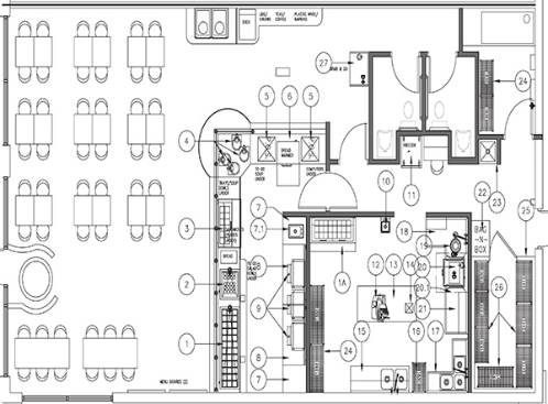 Technical design drawing for the interior of a restaurant